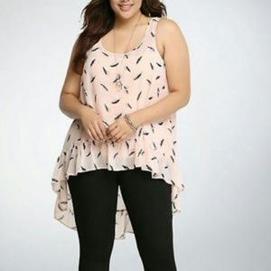 Torrid size 2X pink gray sheer Hi-lo feather tunic